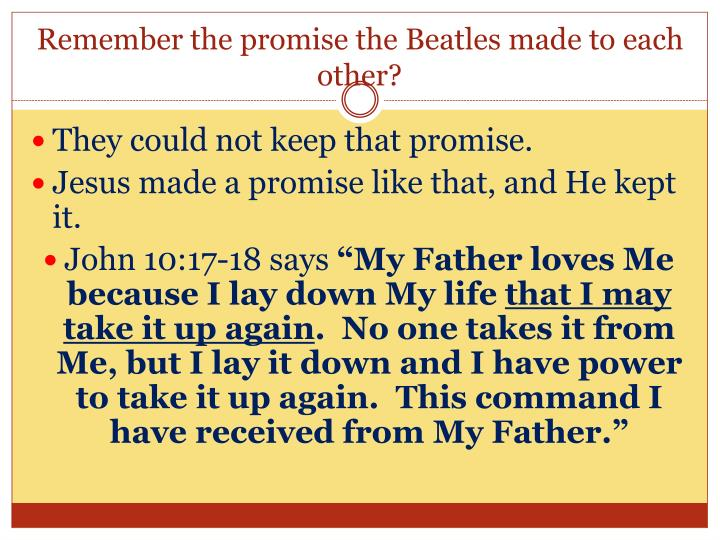 Remember the promise the Beatles made to each other?