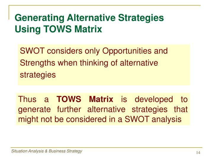 Generating Alternative Strategies     Using TOWS Matrix