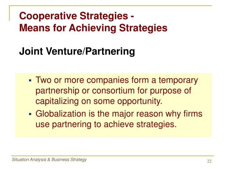 Cooperative Strategies -               Means