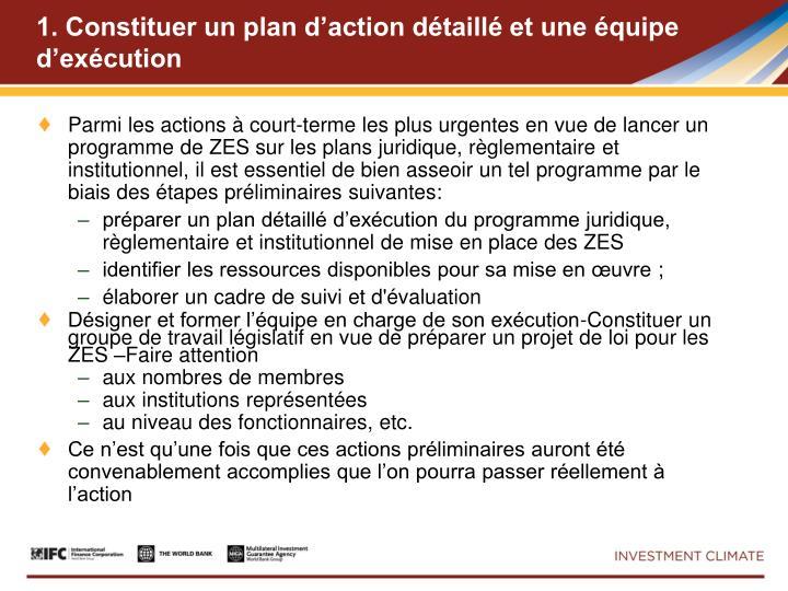 1. Constituer un plan d'action détaillé et une équipe d'exécution