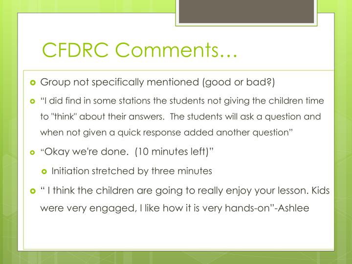 CFDRC Comments…