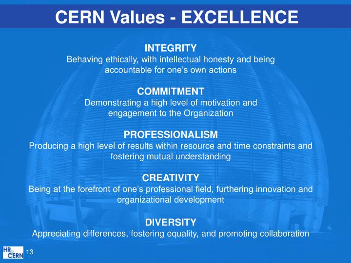 CERN Values - EXCELLENCE