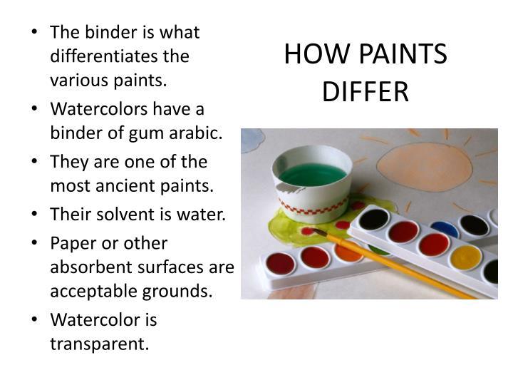 HOW PAINTS DIFFER