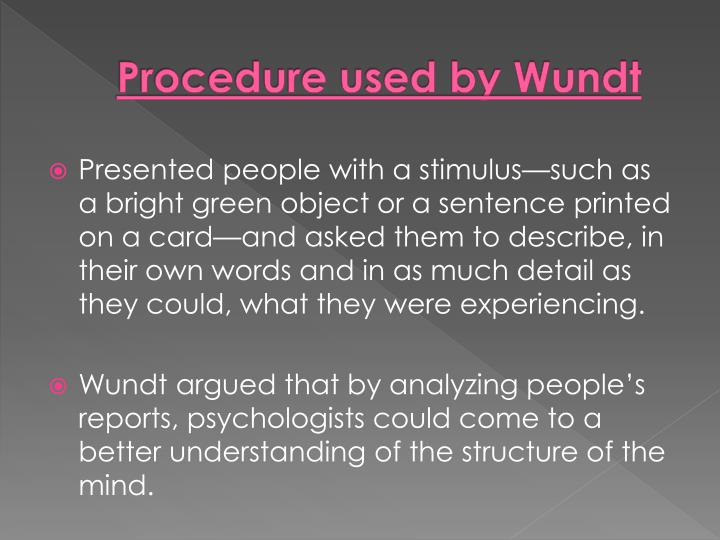 Procedure used by Wundt