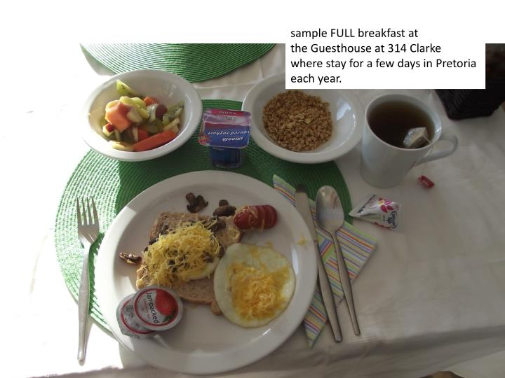 sample FULL breakfast at
