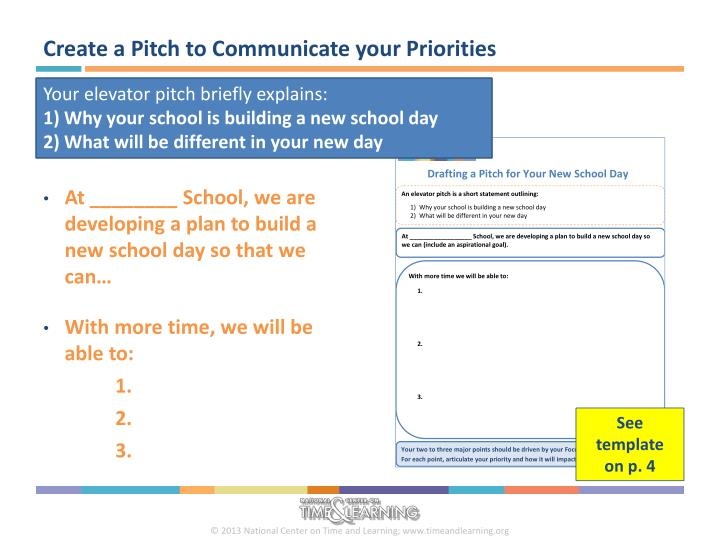 Create a Pitch to Communicate your Priorities