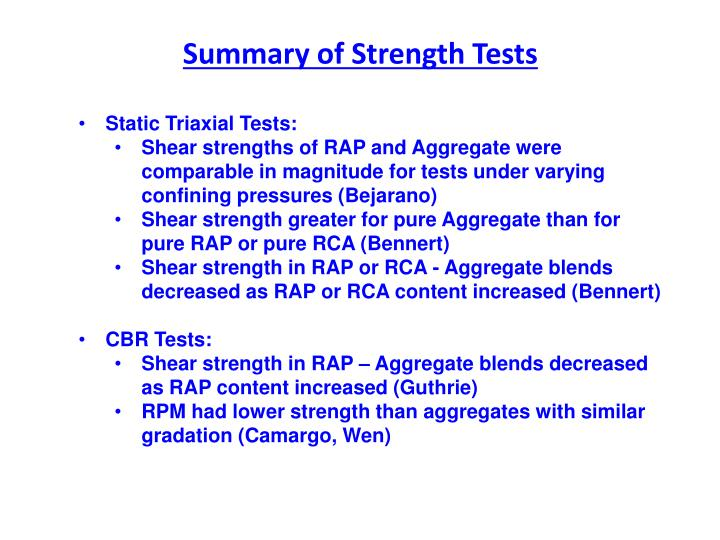 Summary of Strength Tests