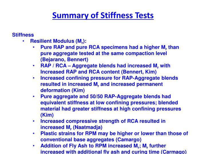 Summary of Stiffness Tests