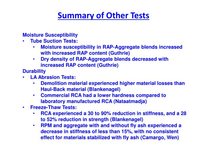 Summary of Other Tests