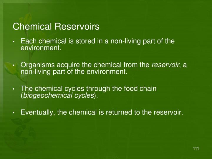 Chemical Reservoirs