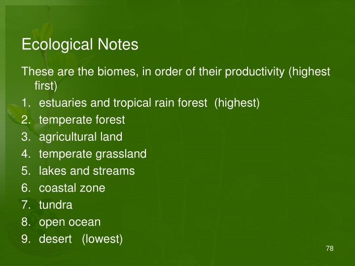 Ecological Notes