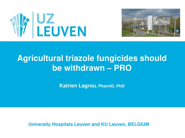 Agricultural triazole fungicides should be withdrawn pro katrien lagrou pharmd phd