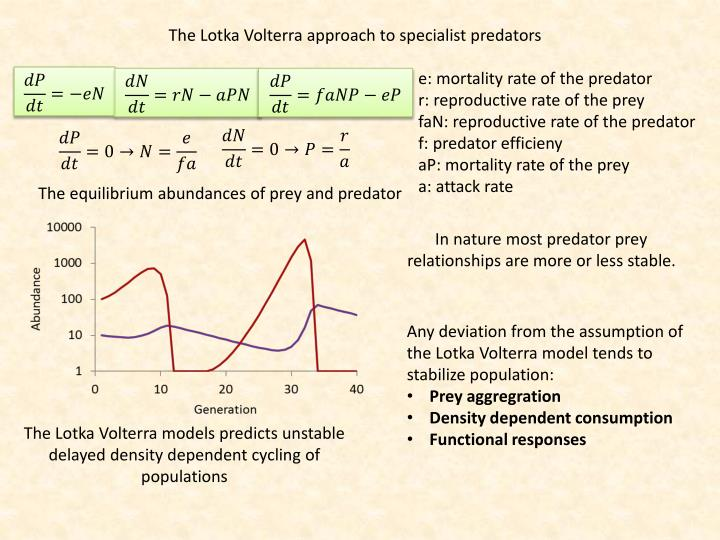 The Lotka Volterra approach to specialist predators