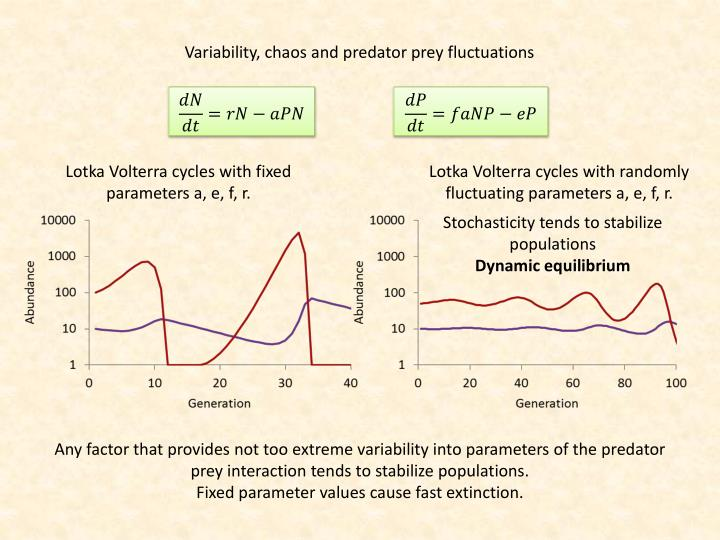 Variability, chaos and predator prey fluctuations