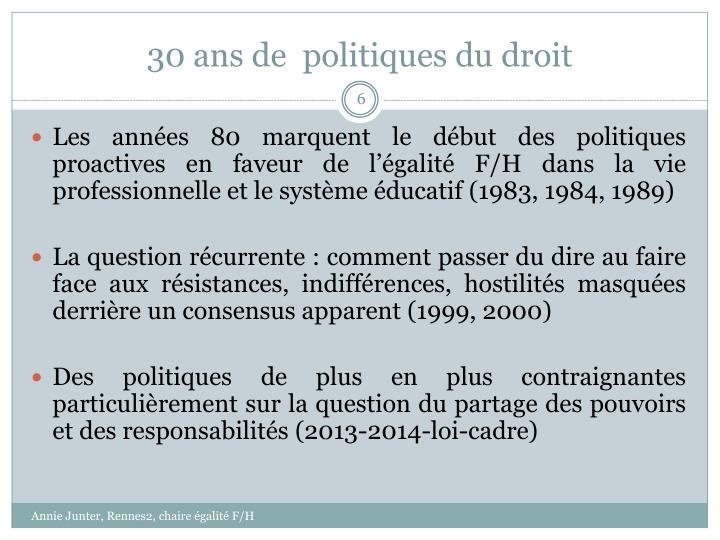 30 ans de  politiques du droit