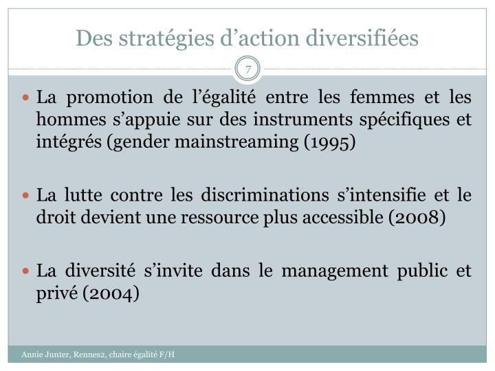 Des stratégies d'action diversifiées