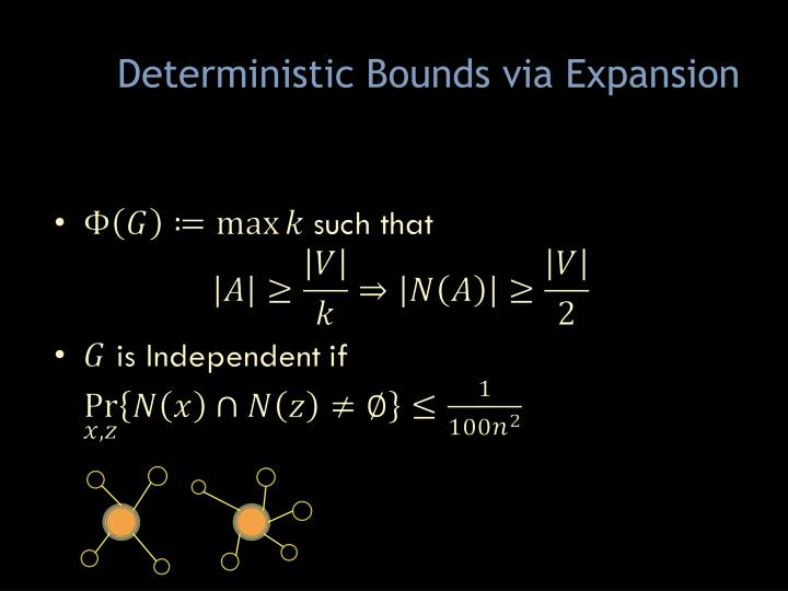 Deterministic Bounds via Expansion