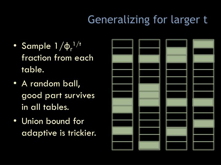 Generalizing for larger t