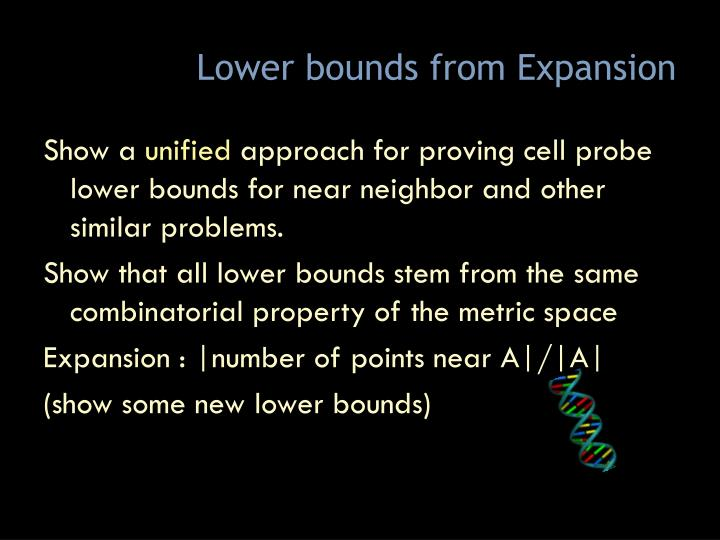 Lower bounds from Expansion