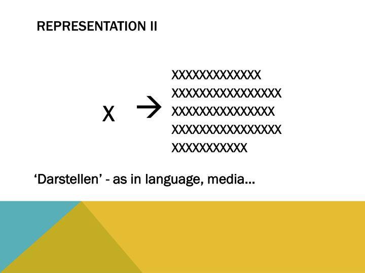 Representation II