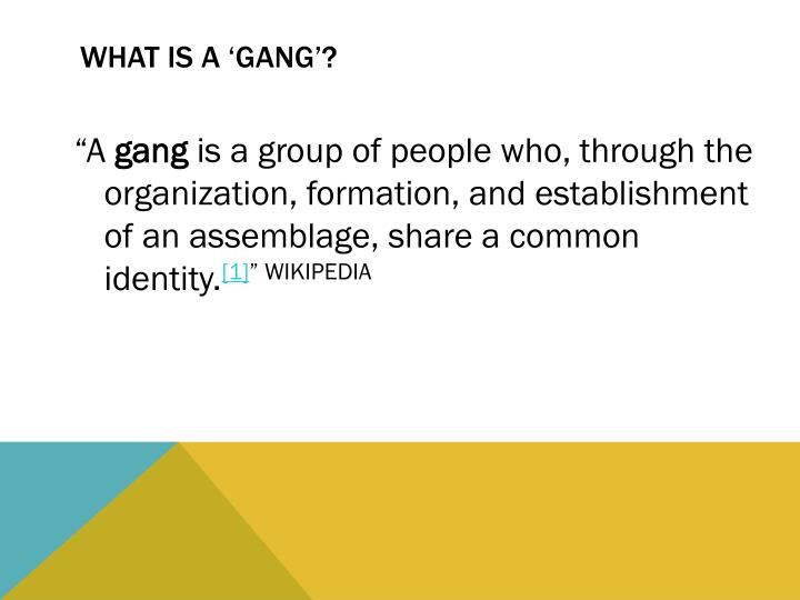 WHAT IS A 'GANG'?