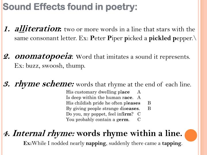 Sound Effects found in poetry: