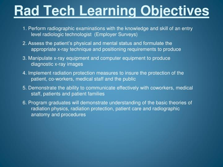 Rad Tech Learning Objectives