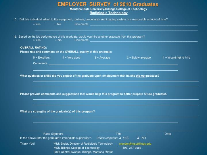 EMPLOYER  SURVEY  of 2010 Graduates