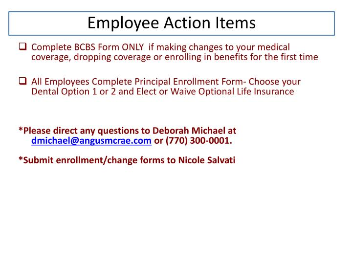 Employee Action Items
