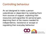 controlling behaviour