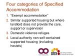 four categories of specified accommodation