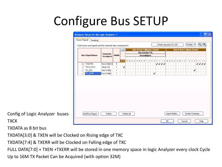 Configure Bus SETUP