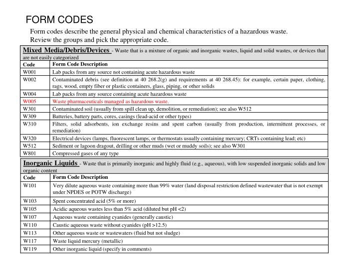 FORM CODES