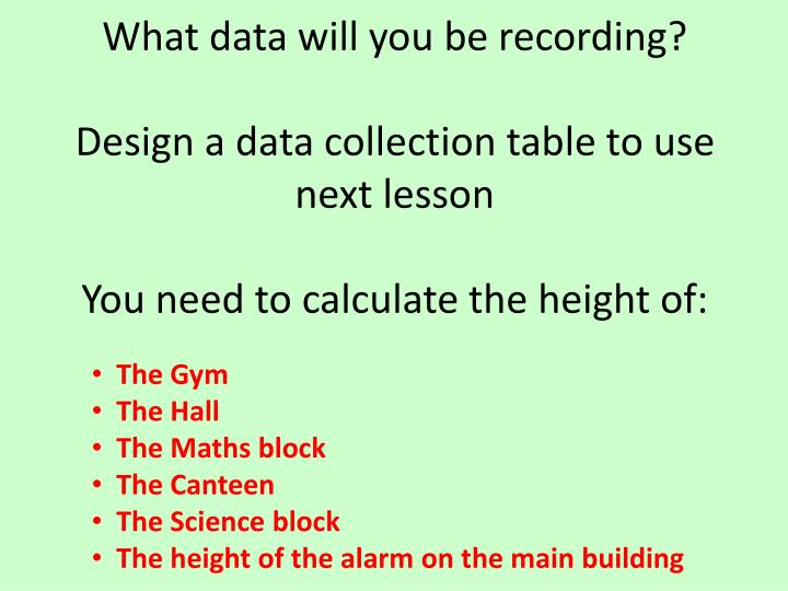What data will you be recording