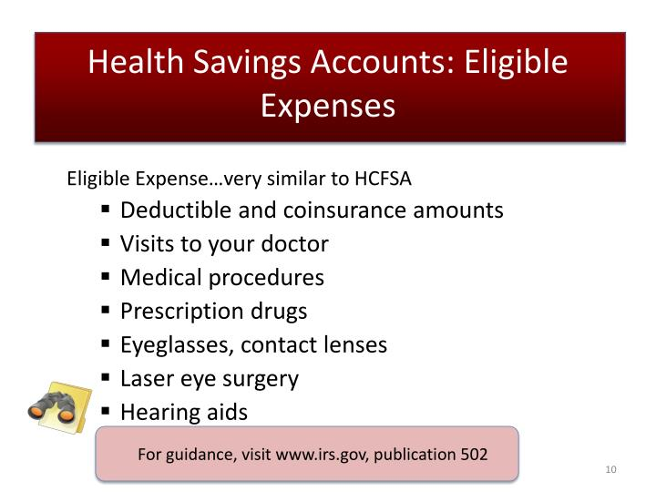 Health Savings Accounts: Eligible Expenses