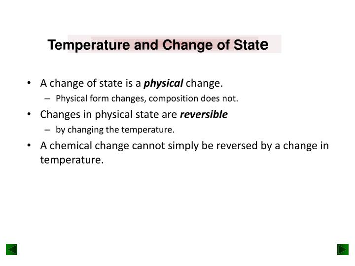 Temperature and Change of Stat