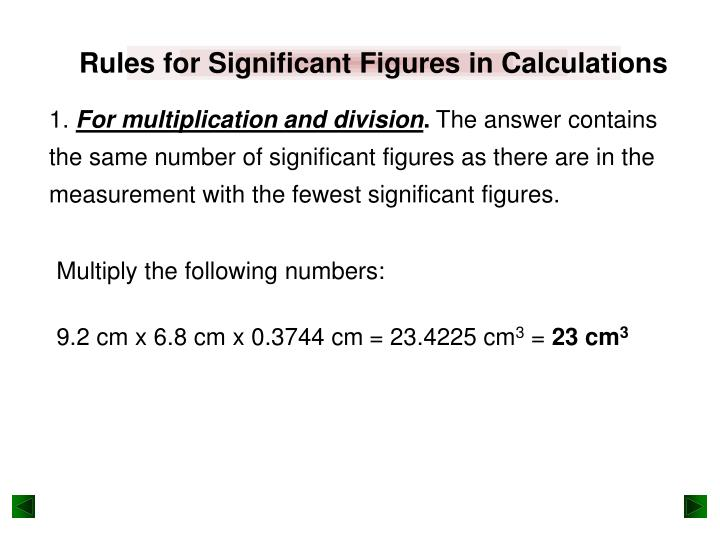 Rules for Significant Figures in Calculations