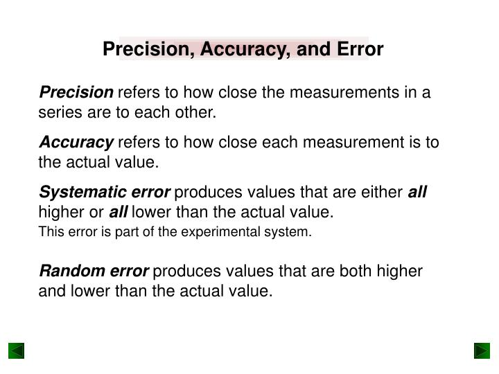 Precision, Accuracy, and Error