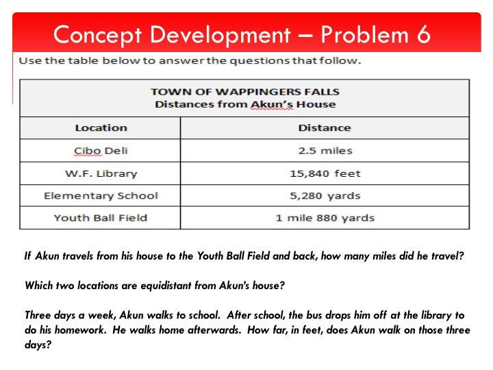 Concept Development – Problem 6
