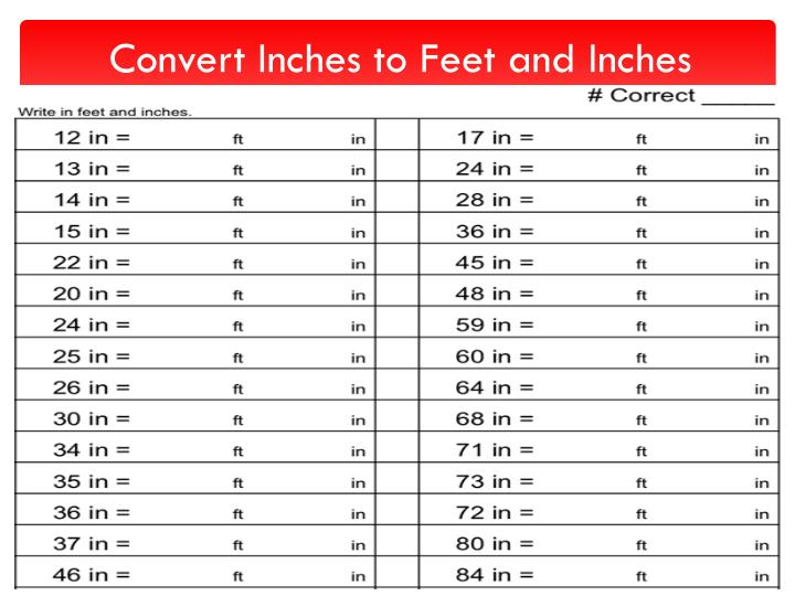 Convert inches to feet and inches