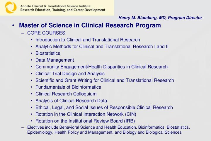 Henry M. Blumberg, MD, Program Director