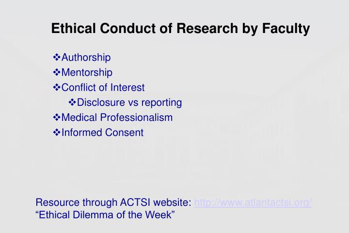 Ethical Conduct of Research by Faculty