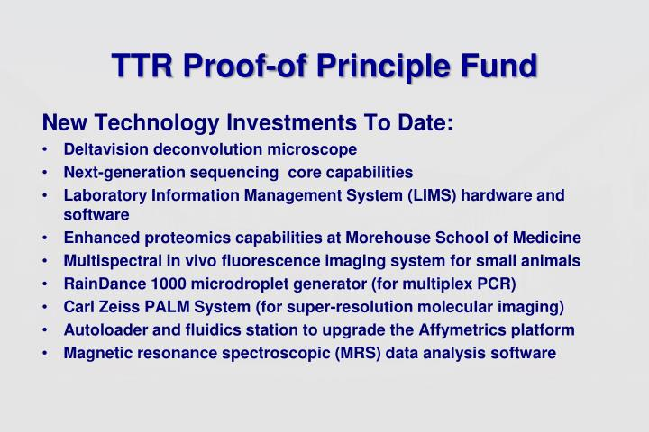 TTR Proof-of Principle Fund