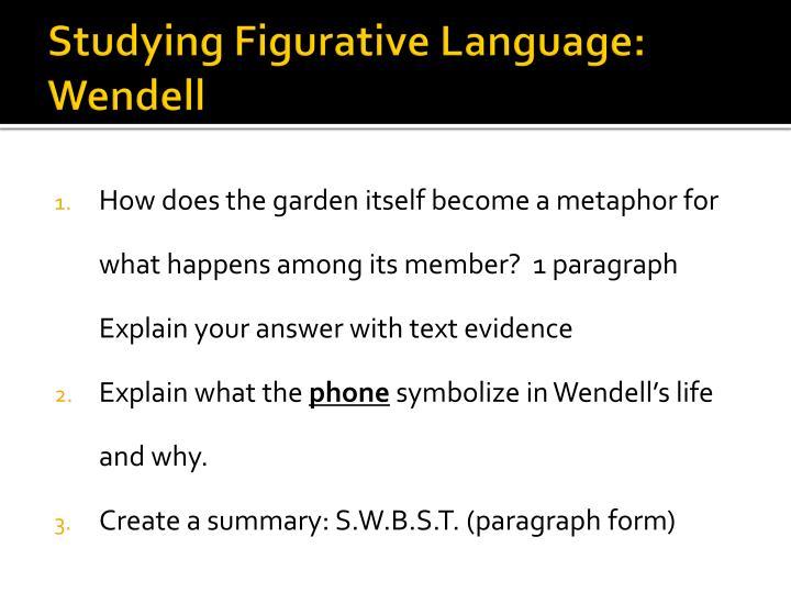 Studying Figurative Language:
