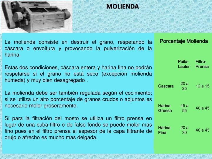La molienda consiste en destruir el grano, respetando la cáscara o envoltura y provocando la pulverización de la harina.