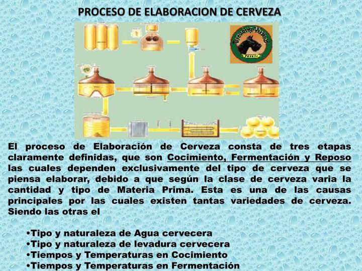PROCESO DE ELABORACION DE CERVEZA