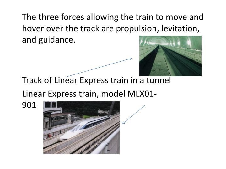 The three forces allowing the train to move and hover over the track are propulsion, levitation, and guidance.