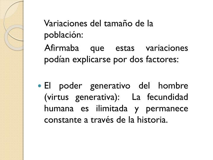 Variaciones del tamao de la poblacin: