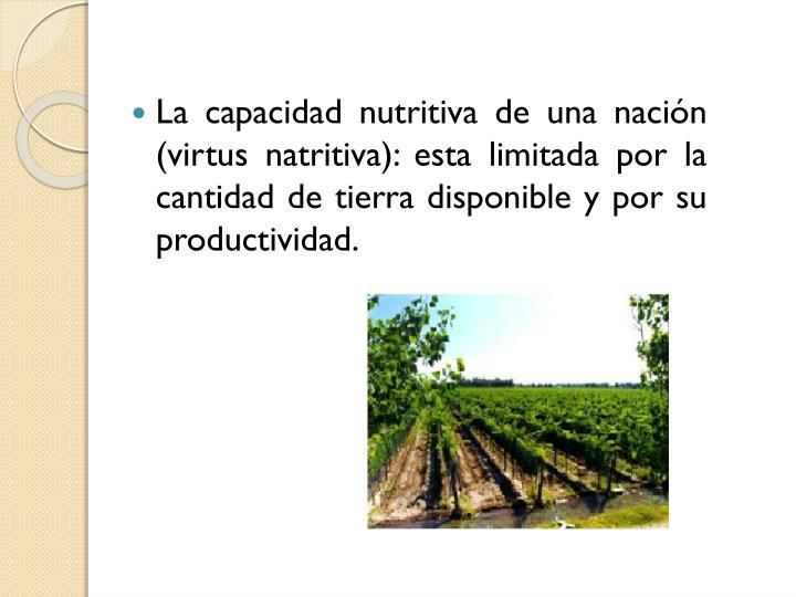 La capacidad nutritiva de una nacin (virtus natritiva): esta limitada por la cantidad de tierra disponible y por su productividad.