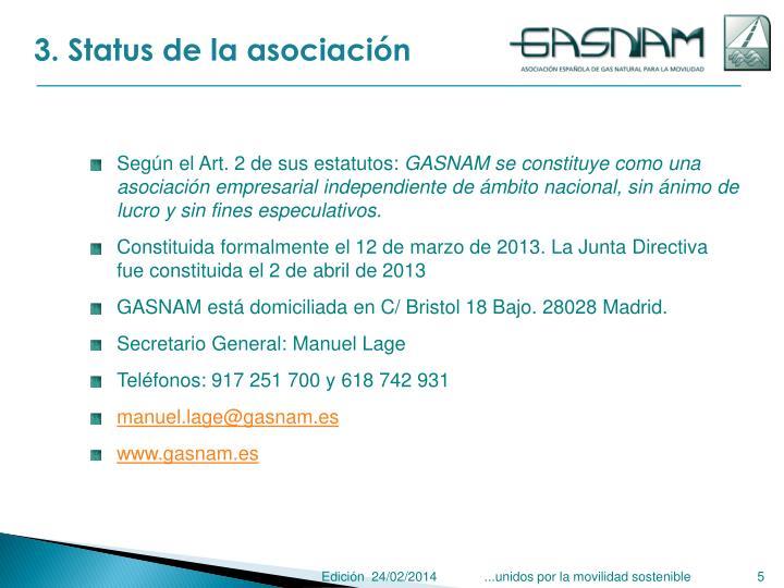 3. Status de la asociación